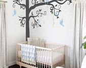 Big Giant Swirly Tree with birds - Nursery Baby Kids Wall Decal