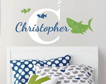 Custom Baby Name Decal, Shark - Nursery Wall Decal Sticker