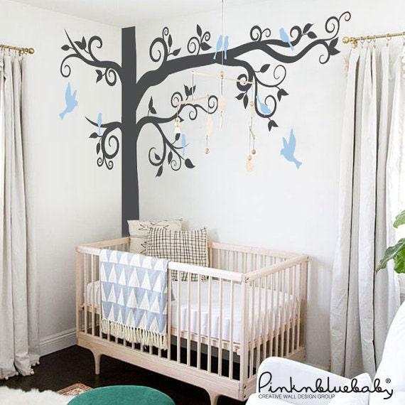 Big Giant Swirly Tree with birds - Nursery Baby Kids Wall Decal
