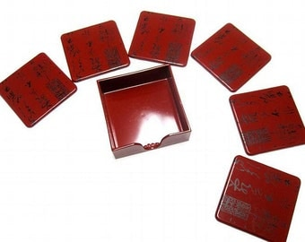 Coasters Set of 6 With Caddy Oriental Garnet Red Black
