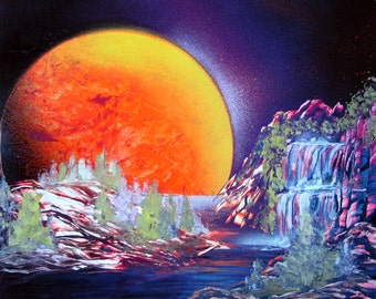 "Spray Paint Art Original Waterfall Forest Landscape Poster Painting 14"" x 11"""