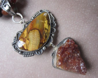 Very Large African Pietersite and Raw Citrine Pendant