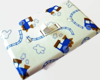 TRAINS Light Switch Cover Plate Switchplate Nursery Decor