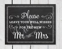 Guest Book Signage, 8x10 Wedding Signage, Well Wishes Sign, Chalkboard Wedding Sign
