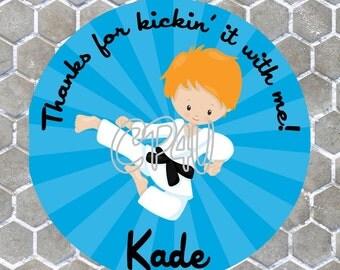 Karate Boy Red Hair Favor Tags
