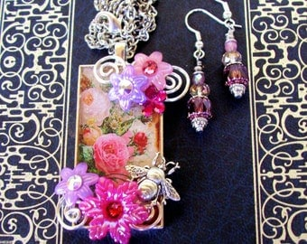 Dangle Earrings and Fancy Pendant Set (S610) Victorian Graphic Under Resin, Acrylic Flowers, Crystal Dangles, Swarovski Crystals, Pinks