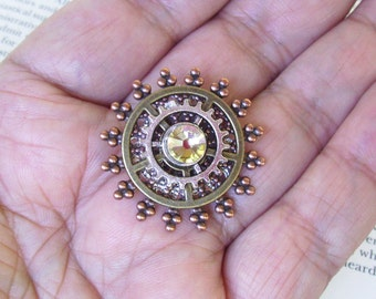 Steampunk Tie Tack (TT502) - Copper Silver and Brass Pieces - Swarovski Crystal