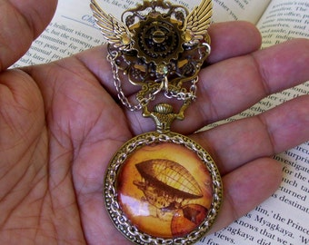 Airship Pocket Watch Brooch (P608) - Bronze Faux Pocket Watch Frame - Glass Dome - Stained Airship Image - Swarovski Crystals