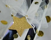 "Star Gift Tags / Silver & Gold Glitter / Large 2-7/8""  Holiday Tags New Years Eve Graduation / 30th, 40th, 50th Birthday Party Favor Tags"