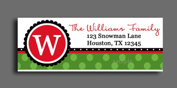 Christmas Return Address Labels Tags Printable or Printed - Gift ...