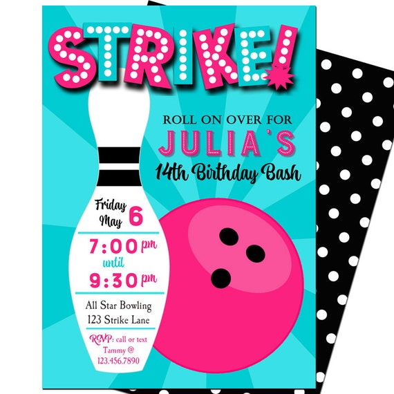 Vibrant image pertaining to free printable bowling birthday party invitations