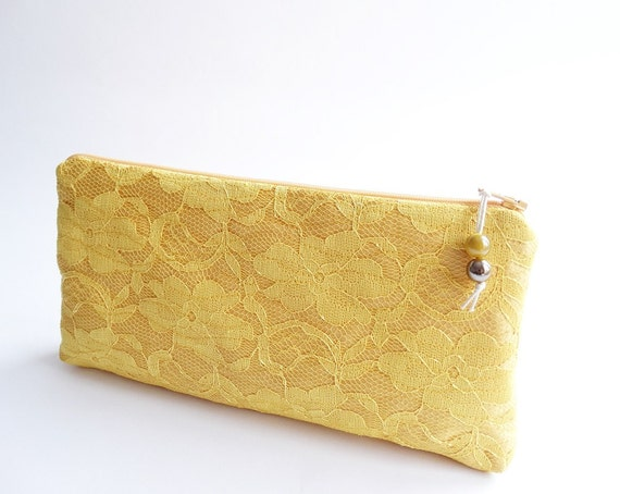 Wedding Clutch Bright Gold Yellow Lace, Bridesmaid Proposal Purse Gift Idea, Bachelorette Party Gift Bags