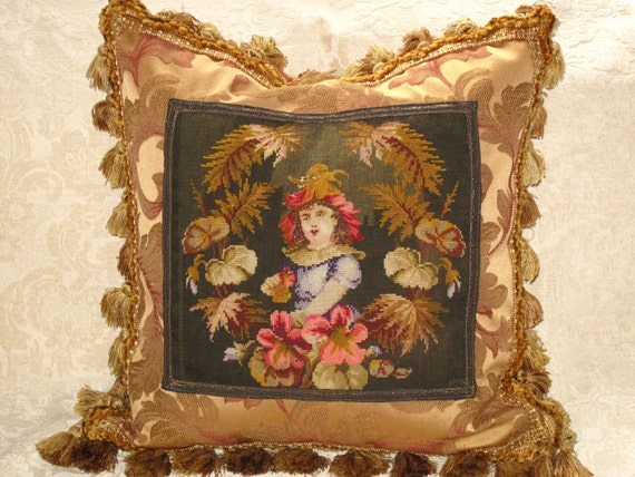 19th c Antique Victorian Needlepoint Tapestry Pillow of girl