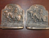 Vintage bookends Hubley knights Templar Crusade Copper coated cast iron