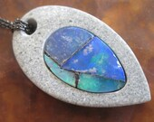 Mexican Fire Opal Necklace River Stone Fiery Choice of Chain Natural Pattern Gem Rock Artisan Jewelry Blue Green Opal Mosaic