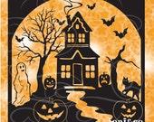 Halloween Glass Block SVG File, Haunted House SVG cut file, Happy Halloween