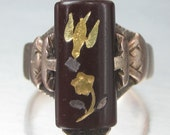 Antique Victorian Bird with Love Letter Above a Flower Rose of Sharon Ring 14K