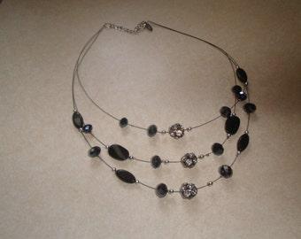 vintage necklace triple strand silver tone black glass rhinestones