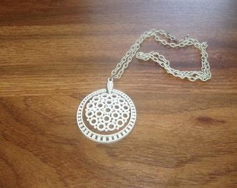vintage necklace white enamel metal