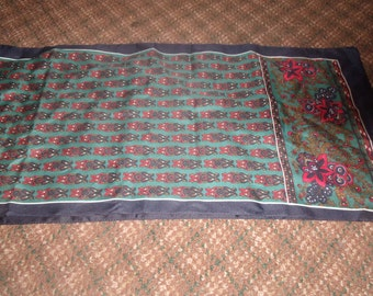 vintage ladies head neck scarf oblong blue gold red polyester