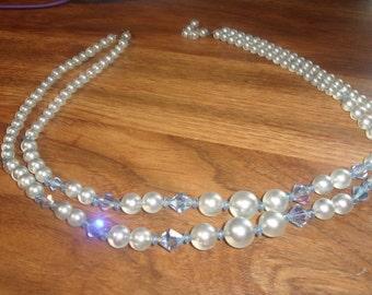 vintage necklace double strand blue glass lucite