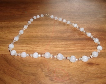 vintage necklace opalescent glass beads