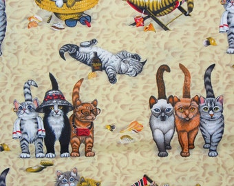Cats on the Beach,  Beach Cats, Summer Kitties,  Beach Kitties, By the Yard, Cotton Fabric