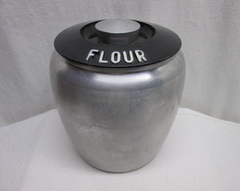 Kromex Flour Canister Aluminum, food containers, kitchen, props