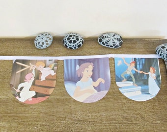 Peter Pan Bunting Children Garland Nursery Decor Wendy Captain Hook The Lost Boys Photography Prop Neverland London Tinkerbell Fairy