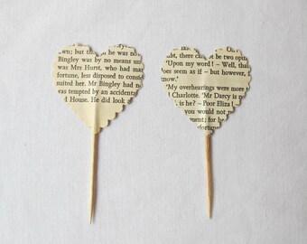 Heart Cupcake Toppers Bridal. Jane Austen Pride and Prejudice Sense Sensibility. Food Picks Book Text Mr Darcy. Handmade Party Cake Wedding
