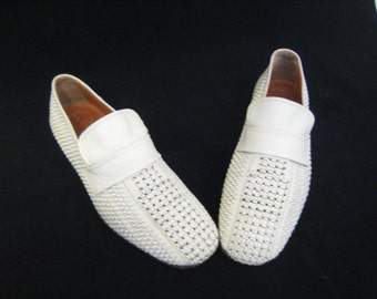 70s Leather Shoes White Leather Loafers 1970s White Slip Ons Mens White Shoes White Loafers White Woven Leather Shoes Made in Italy