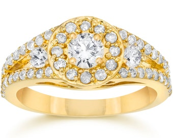 Halo Diamond 1.00CT Engagement Ring (1/3CT Center) Round Pave 14 KT Yellow Gold