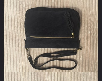 BOHO  suede cross over genuine suede leather bag in BLACK. Soft natural suede leather bag with tassels. BLACK messenger bag. Boho