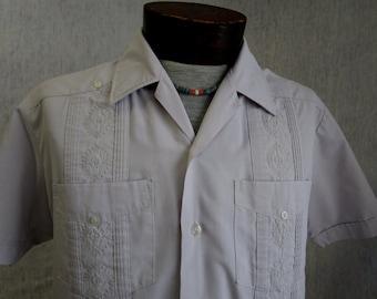 80s M Romani Guayabera Men's S/S Shirt Mauve gray