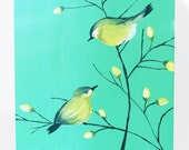 Green Birds on a Branch Painting, 12x12 Canvas, yellow gold finch  # KE3829