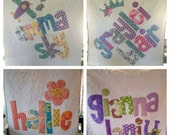 The Original Personalized Quilt Crib/Toddler, Baby Quilt, Raw Edge Applique Quilt, Name Quilt