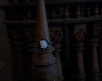 OOAK Vintage Sterling Silver Large Genuine Opal Ring - Sz 6.5