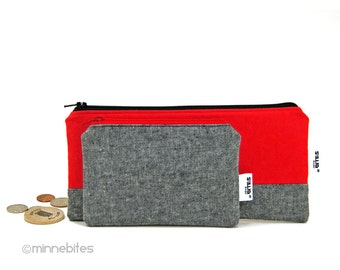 Men's Red Gift Set by MinneBites / Set of Two Handmade Pouches for Men - Gray Bags - Guys Pencil Case - Card Coin Wallet - Ready to Ship