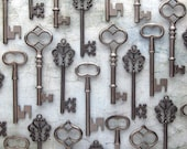 The Morrow Collection - Skeleton Key Assortment in Gunmetal Black - Set of 30 Keys - 3 STYLES