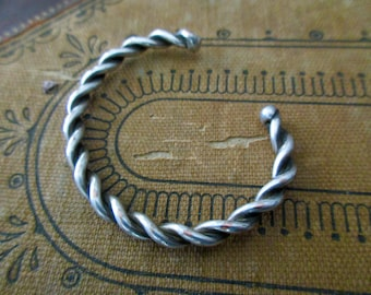 silver cuff rope twisted bracelet - adjustable