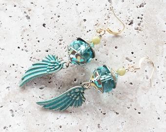 Turquoise glass bead earrings, wing earrings, verdigris metal wings, art earrings, handpainted beadcaps, natural stone, dangle earrings