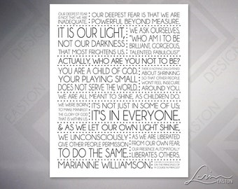 Marianne Williamson - Our Deepest Fear 8x10, 11x14, 16x20, 20x24, 24x30