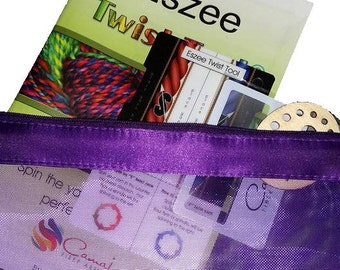 Eszee Twist Tool© twist reference card, wpi gauge, yarn thickness guide, angle of twist gauge, 33 full color page yarn planner.
