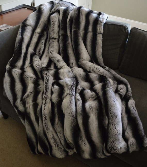 Real Rex Rabbit Fur Throw Dyed Gray Chinchilla new made in usa  authentic genuine