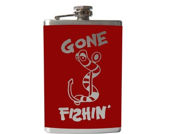 Gone Fishin FLASK- alcohol, liquor, booze, wedding, bridal party, hip pocket- Personalized Custom - YOU pick COLOR