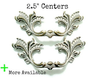 "French Provincial Drawer Pulls - 2.5"" centers - Pairs 2 1/2"" on center - more available - custom colors"
