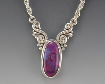 P699- Sterling Silver Copper Purple Turquoise Pendant- One of a Kind