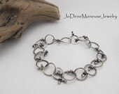 Sterling silver funky link chain bracelet, hand crafted, rustic, edgy, original, unique artisan metalsmith jewelry