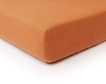 Rust linen fitted sheet, Queen bed sheets, King sheets, Double Full or Twin size fitted sheets, Rust linen bedding