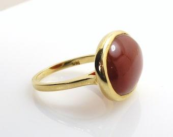 Carnelian Ring on Rose gold .